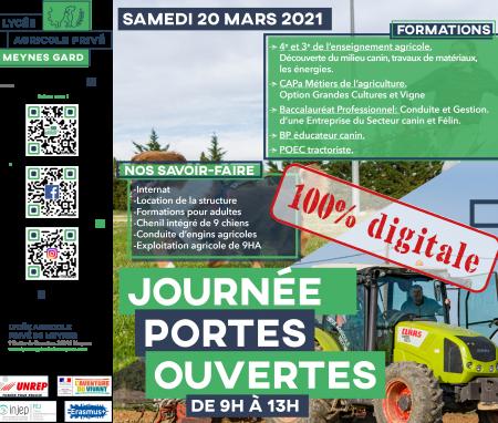 Les Inscriptions pour la Journée Portes Ouvertes 100% Digitale du Samedi 20 Mars 2021 sont désormais ouvertes !!!